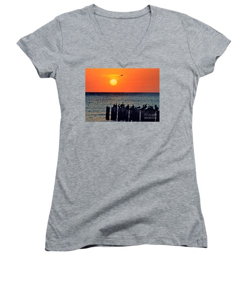 Women's V-Neck T-Shirt (Junior Cut) featuring the photograph Sunset In Florida by Lydia Holly