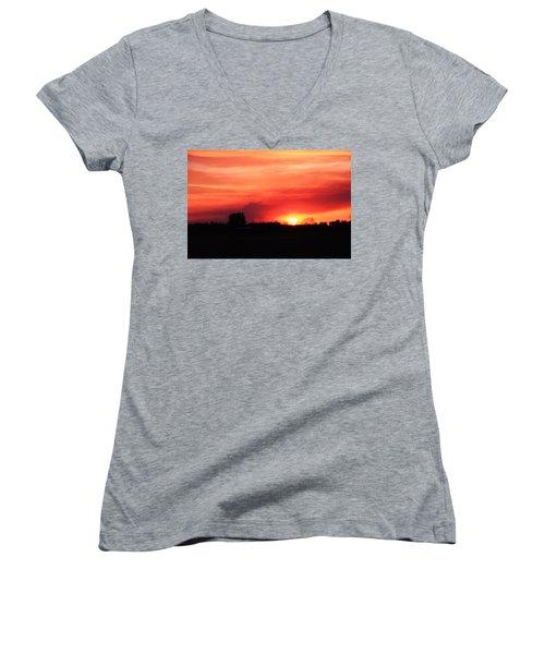 Sunset Women's V-Neck T-Shirt (Junior Cut) by Johanna Bruwer