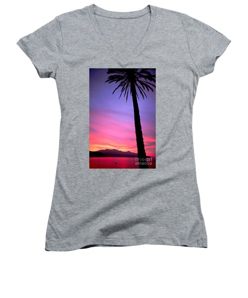 Women's V-Neck T-Shirt (Junior Cut) featuring the photograph Sunset by Luciano Mortula