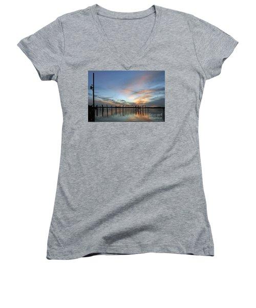 Women's V-Neck T-Shirt (Junior Cut) featuring the photograph sunset marina Everglades by Dan Friend