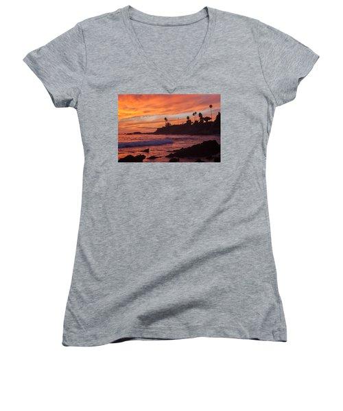 Sunset Off Laguna Beach Women's V-Neck