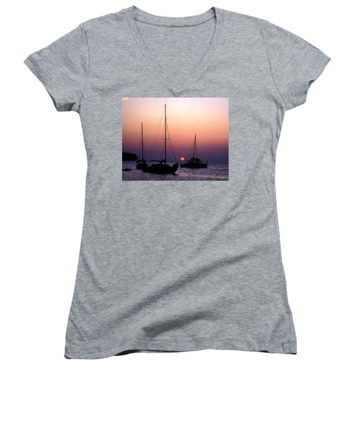 Sunset Off Simonton Street 14e Women's V-Neck T-Shirt (Junior Cut) by Gerry Gantt