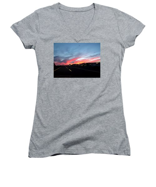 Sunset On Route 66 Women's V-Neck (Athletic Fit)