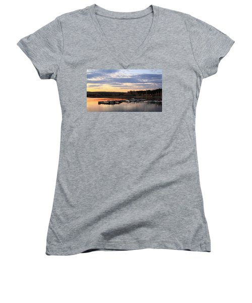 Sunset On The Lake Women's V-Neck T-Shirt