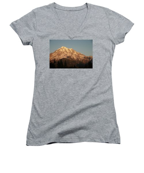 Sunset On The Mountain Women's V-Neck (Athletic Fit)