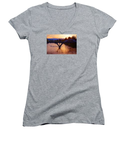 Sunset Over Caveman Bridge Women's V-Neck T-Shirt (Junior Cut) by Mick Anderson