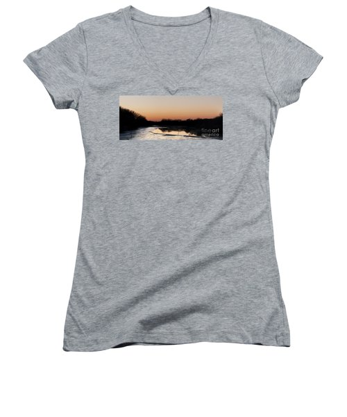 Sunset Over The Republican River Women's V-Neck