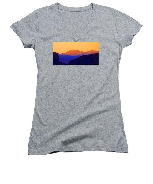 Sunset Over The Sierra Gigantes Women's V-Neck T-Shirt