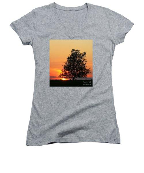 Sunset Square Women's V-Neck T-Shirt (Junior Cut) by Angela Rath