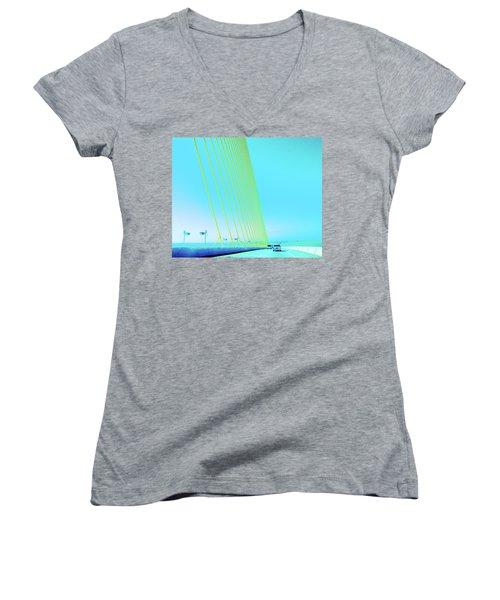 Women's V-Neck T-Shirt (Junior Cut) featuring the photograph Sunshine  Bridge by Lizi Beard-Ward