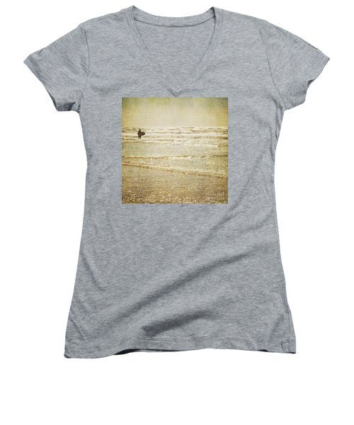 Surf The Sea And Sparkle Women's V-Neck T-Shirt (Junior Cut) by Lyn Randle