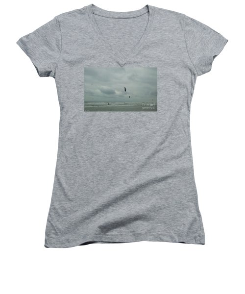 Women's V-Neck T-Shirt (Junior Cut) featuring the photograph Surfing The Wind by Donna Brown