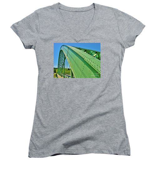 Women's V-Neck T-Shirt (Junior Cut) featuring the photograph Suspension Bridge by Sherman Perry
