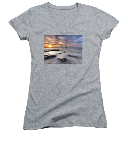 Women's V-Neck T-Shirt (Junior Cut) featuring the photograph Talacre Lighthouse  by Beverly Cash