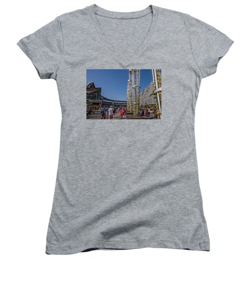 Women's V-Neck T-Shirt (Junior Cut) featuring the photograph Target Plaza by Tom Gort