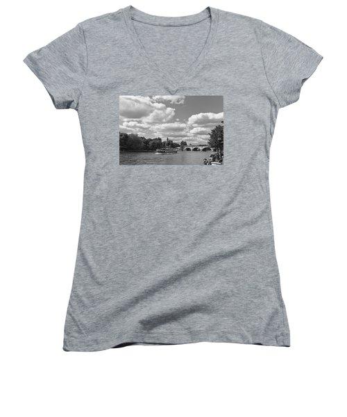 Women's V-Neck T-Shirt (Junior Cut) featuring the photograph Thames River Cruise by Maj Seda