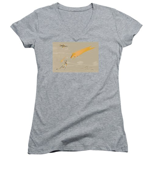 Women's V-Neck T-Shirt (Junior Cut) featuring the painting The Beast Afoot by Kevin McLaughlin