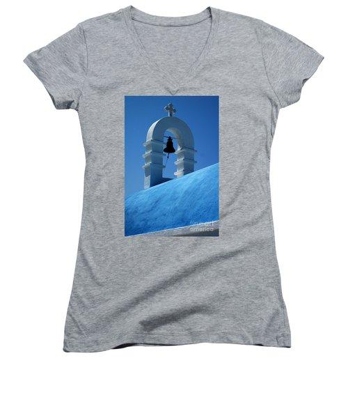 The Bell Tower In Mykonos Women's V-Neck T-Shirt (Junior Cut) by Vivian Christopher