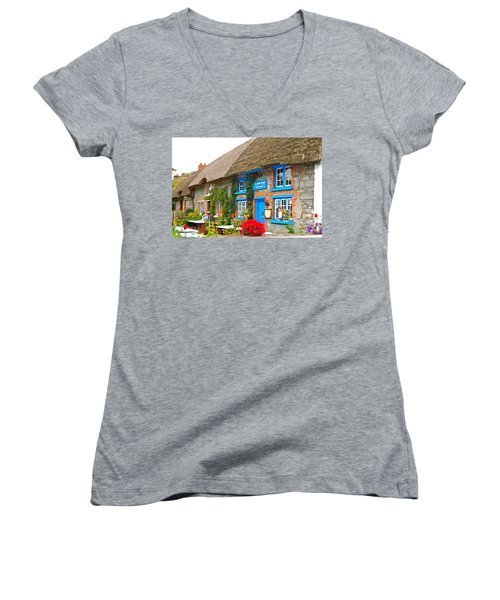 Women's V-Neck T-Shirt (Junior Cut) featuring the photograph The Blue Door by Charlie and Norma Brock