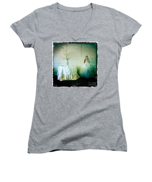 Women's V-Neck T-Shirt (Junior Cut) featuring the photograph The Bride Takes A Moment by Nina Prommer