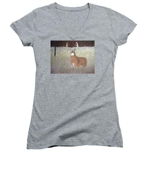Women's V-Neck T-Shirt (Junior Cut) featuring the painting The Buck Stops Here by Norm Starks