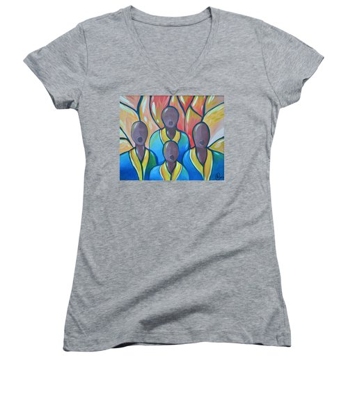 Women's V-Neck T-Shirt (Junior Cut) featuring the painting The Choir by AC Williams