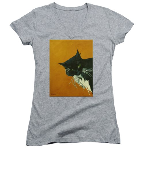 Women's V-Neck T-Shirt (Junior Cut) featuring the painting The Doof by Wendy Shoults