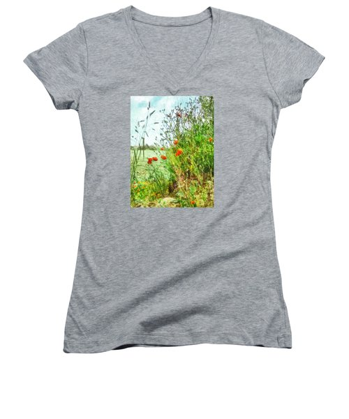Women's V-Neck T-Shirt (Junior Cut) featuring the digital art The Edge Of The Field by Steve Taylor