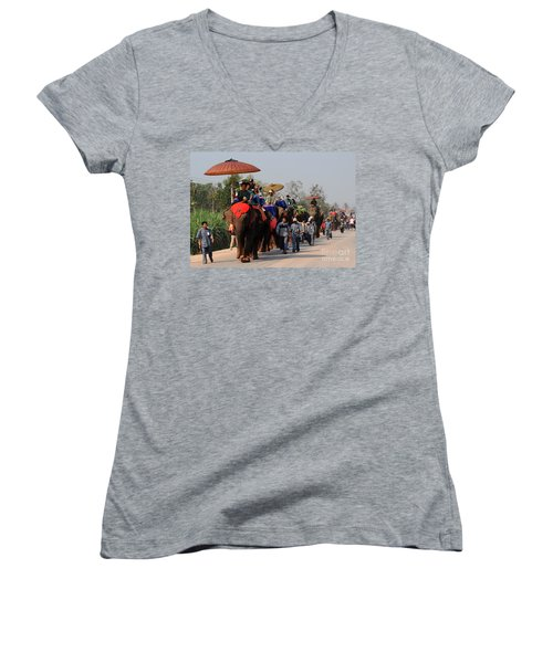 The Elephant Parade Women's V-Neck T-Shirt (Junior Cut) by Vivian Christopher