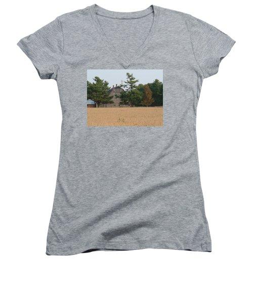 Women's V-Neck T-Shirt (Junior Cut) featuring the photograph The Farm by Bonfire Photography