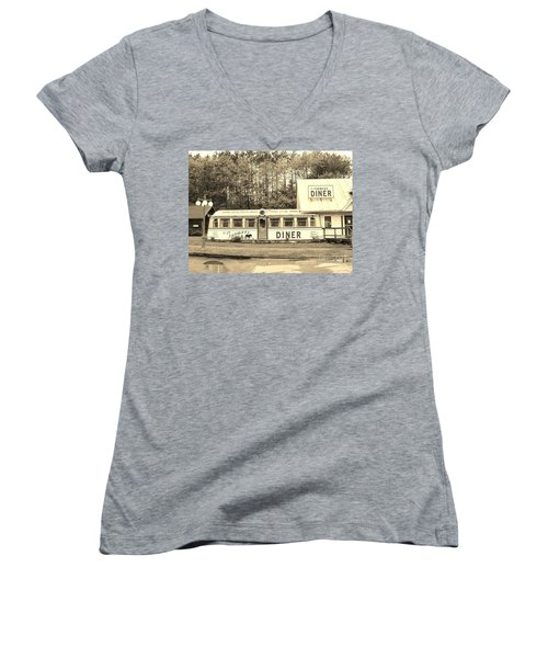 Women's V-Neck T-Shirt (Junior Cut) featuring the photograph The Farmers Diner In Sepia by Sherman Perry
