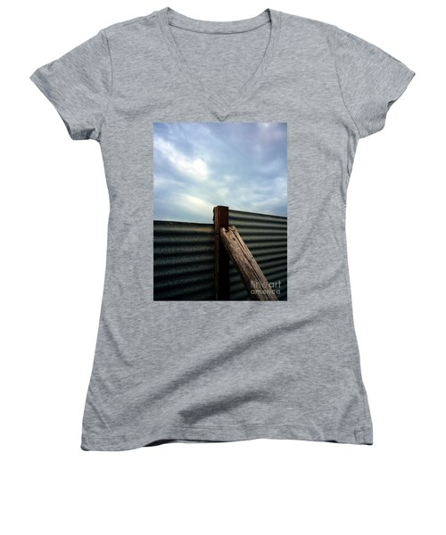 The Fence The Sky And The Beach Women's V-Neck T-Shirt (Junior Cut) by Andy Prendy