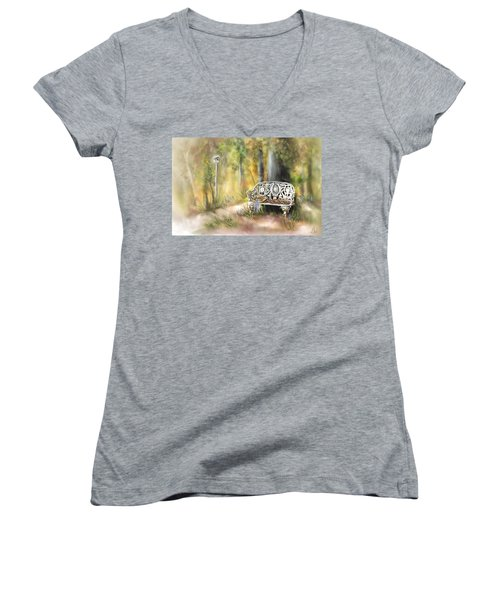 Women's V-Neck T-Shirt (Junior Cut) featuring the painting The Garden Bench by Bonnie Willis