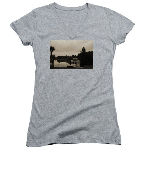 Women's V-Neck T-Shirt (Junior Cut) featuring the photograph The Gazebo At The Lake by DigiArt Diaries by Vicky B Fuller