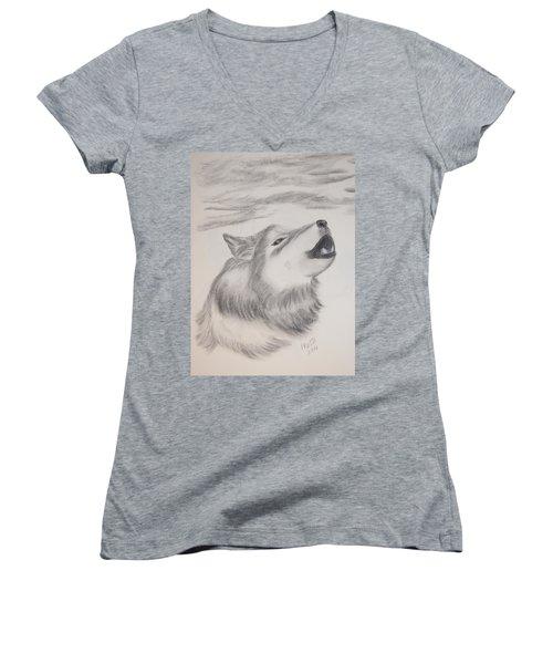 The Howler Women's V-Neck T-Shirt (Junior Cut) by Maria Urso