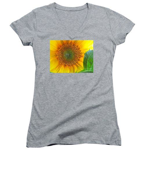 The Last Sunflower Women's V-Neck T-Shirt (Junior Cut) by Sean Griffin