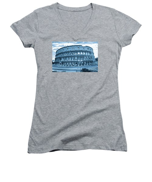 Women's V-Neck T-Shirt (Junior Cut) featuring the photograph The Majestic Coliseum by Luciano Mortula