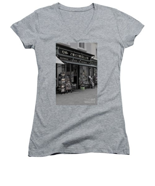 The Old Bookstore Women's V-Neck T-Shirt (Junior Cut) by Mary Machare