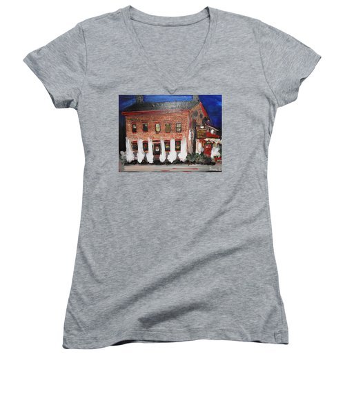 The Olde Bryan Inn Women's V-Neck T-Shirt (Junior Cut) by Laurie L