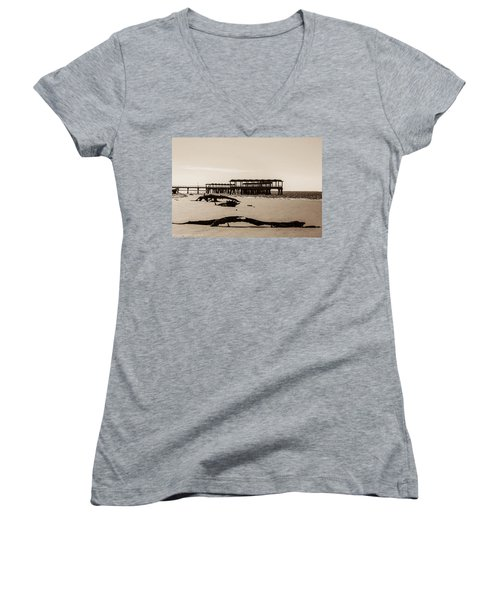 Women's V-Neck T-Shirt (Junior Cut) featuring the photograph The Pier by Shannon Harrington