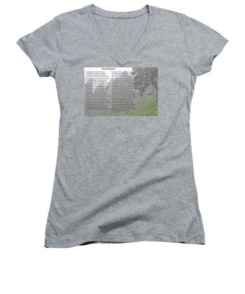 Women's V-Neck T-Shirt (Junior Cut) featuring the photograph The Pinnacle by Tikvah's Hope