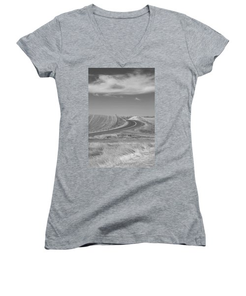 Women's V-Neck T-Shirt (Junior Cut) featuring the photograph The Quiet Road by Kathleen Grace