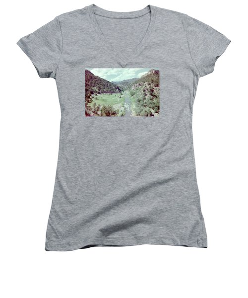 Women's V-Neck T-Shirt (Junior Cut) featuring the photograph The River by Bonfire Photography