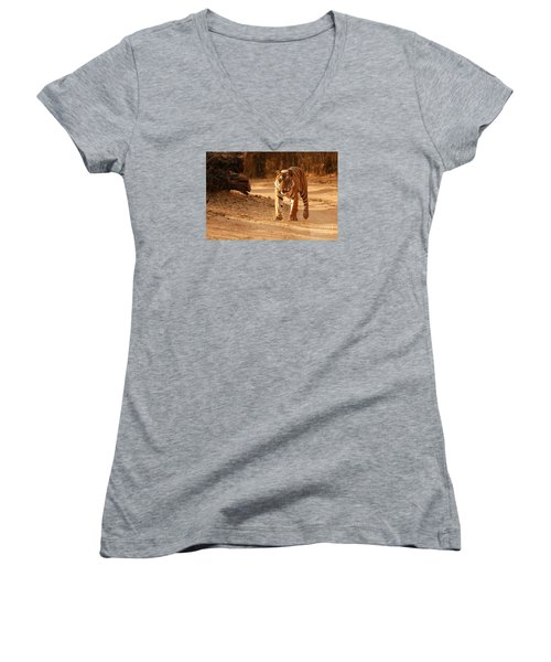 Women's V-Neck T-Shirt (Junior Cut) featuring the photograph The Royal Bengal Tiger by Fotosas Photography