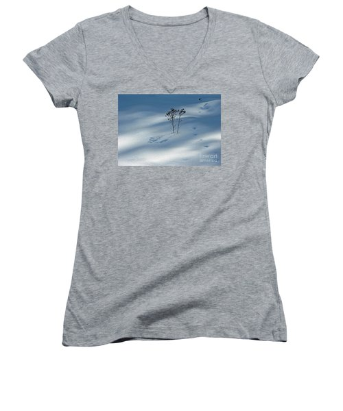 Women's V-Neck T-Shirt featuring the photograph The Shadow Of Loneliness by Ausra Huntington nee Paulauskaite