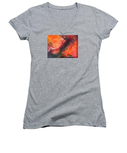 The Singer Women's V-Neck T-Shirt (Junior Cut) by Dan Whittemore