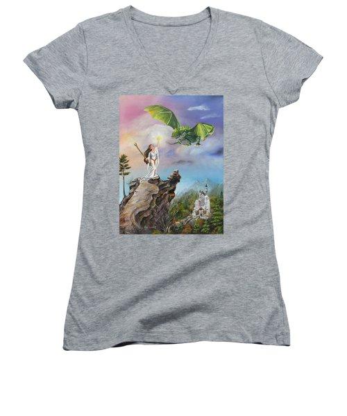 Women's V-Neck T-Shirt (Junior Cut) featuring the painting The Summoning by Lori Brackett
