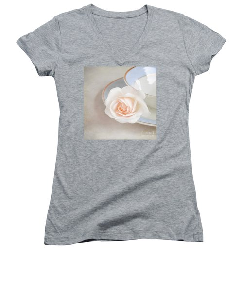The Sweetest Rose Women's V-Neck T-Shirt (Junior Cut) by Lyn Randle