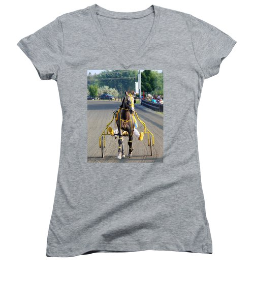 Women's V-Neck T-Shirt (Junior Cut) featuring the photograph The Warm-up by Davandra Cribbie