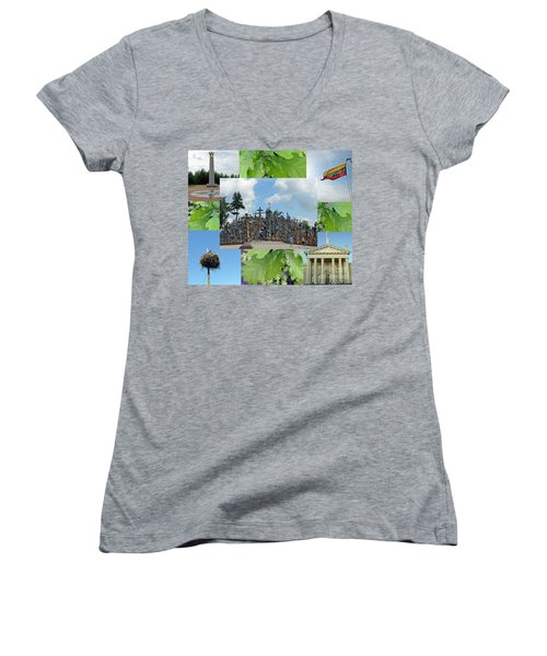 Women's V-Neck T-Shirt featuring the photograph This Is Lietuva- Lithuania by Ausra Huntington nee Paulauskaite